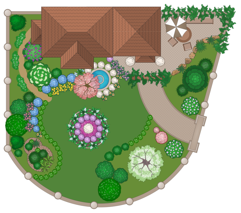 landscape and garden plan created with ConceptDraw PRO